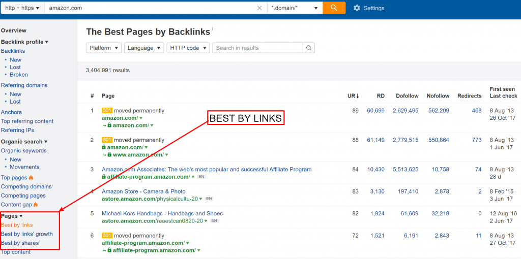 The Best by Links feature on Ahrefs will help you see which are the strongest pages on your site