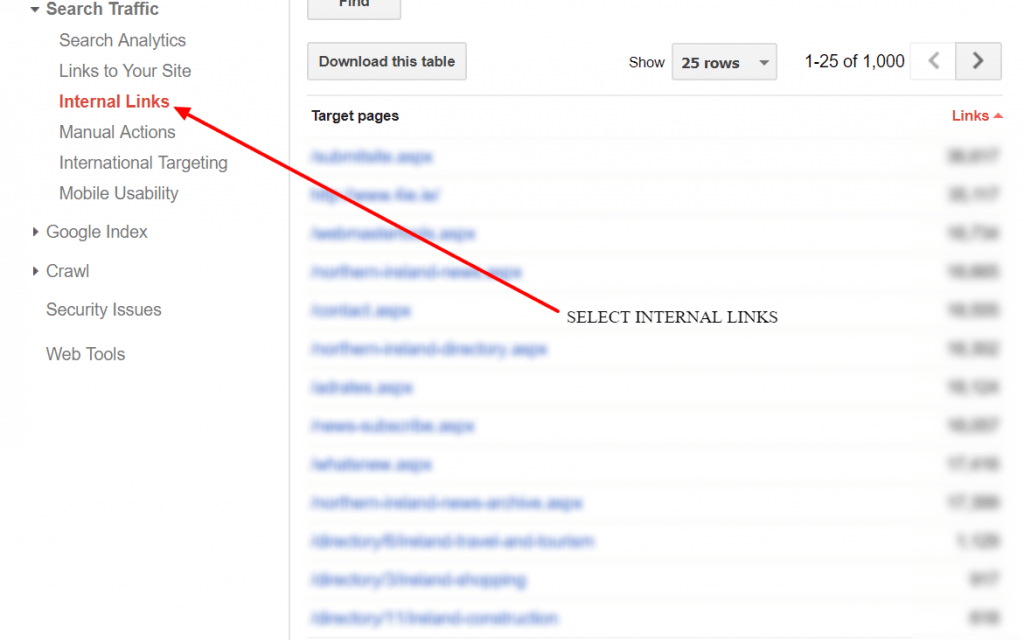 Search Console to check for internal links